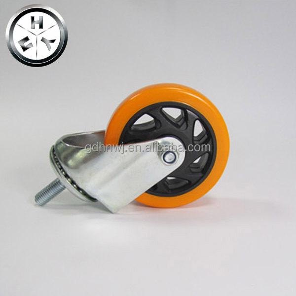 Medium duty screw type PVC caster wheel, threaded rod castor wheel for furniture
