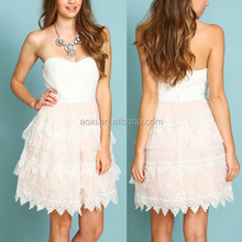 Latest design polyester tulle strapless crochet ruffle dress wedding wear beautiful dress