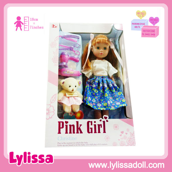 2019 Hot Sell 14 Inch Vinyl Doll Beautiful Pink Girl with Display Box/Gift Box.