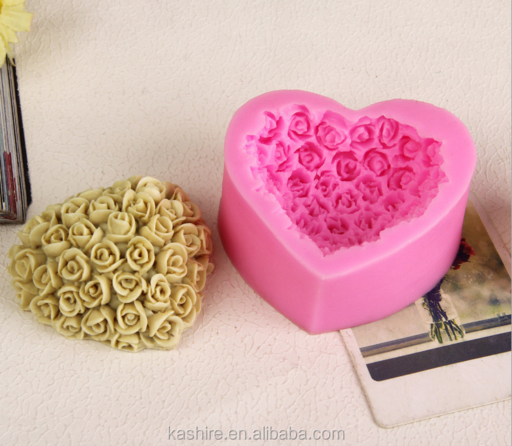High Quantity heart rose shape silicone chocolate mould,soap mold,diy cake mould