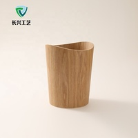 Custom Oak Walnut Veneer Minimalist Business Office Wooden Trash Can