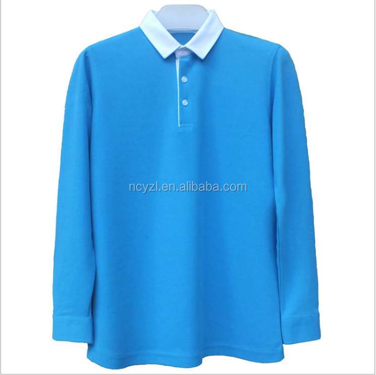 custom high quality pima cotton and quick dry and no label long sleeve Polo shirt for men