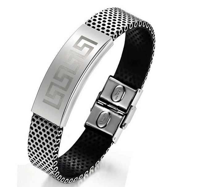 In Stock Rubber Magnetic Energy Cheap Negative Ion Sport Bracelet