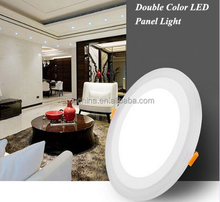 bicolors led panel light white and blue round led panel light 6+3w