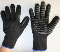Black Foam Latex Rubber Palm Coated TPR back shock absorbing anti vibration Construction Gloves