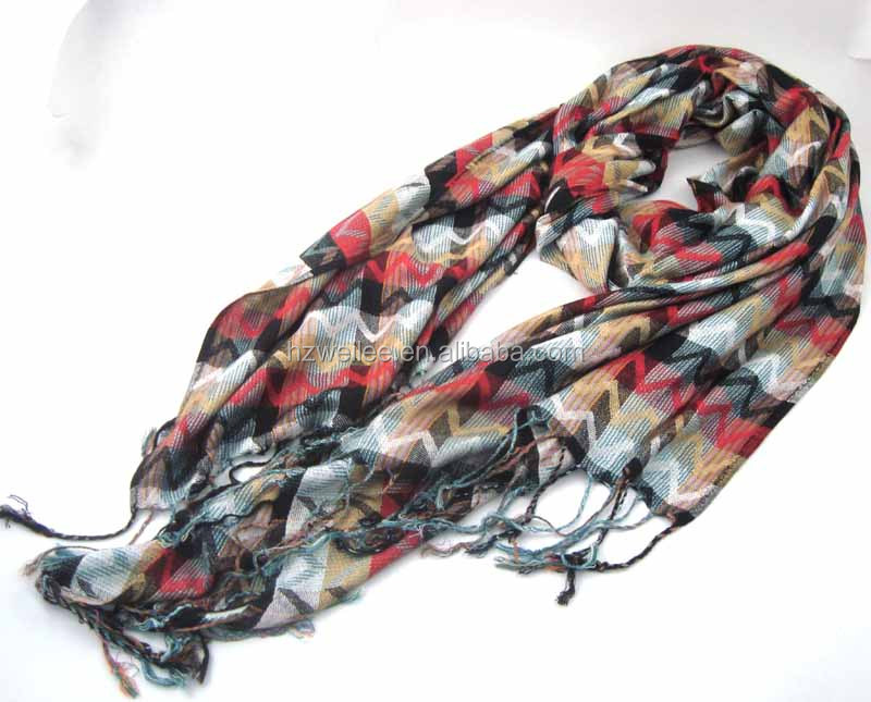 WLHH629 (50) 100% Polyester colorful chiffon chevron lady scarf