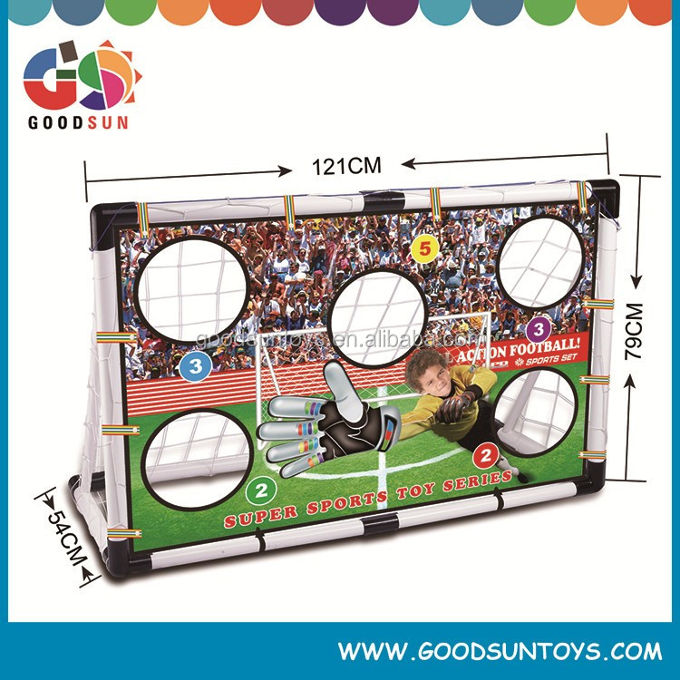 Soccer goals set with ball and inflator