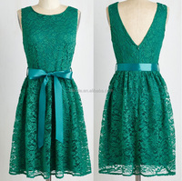 bridesmaids Dress new style floral lace overlay bridesmaids satiny sash alluring V-back emerald-green lace bridesmaids frock
