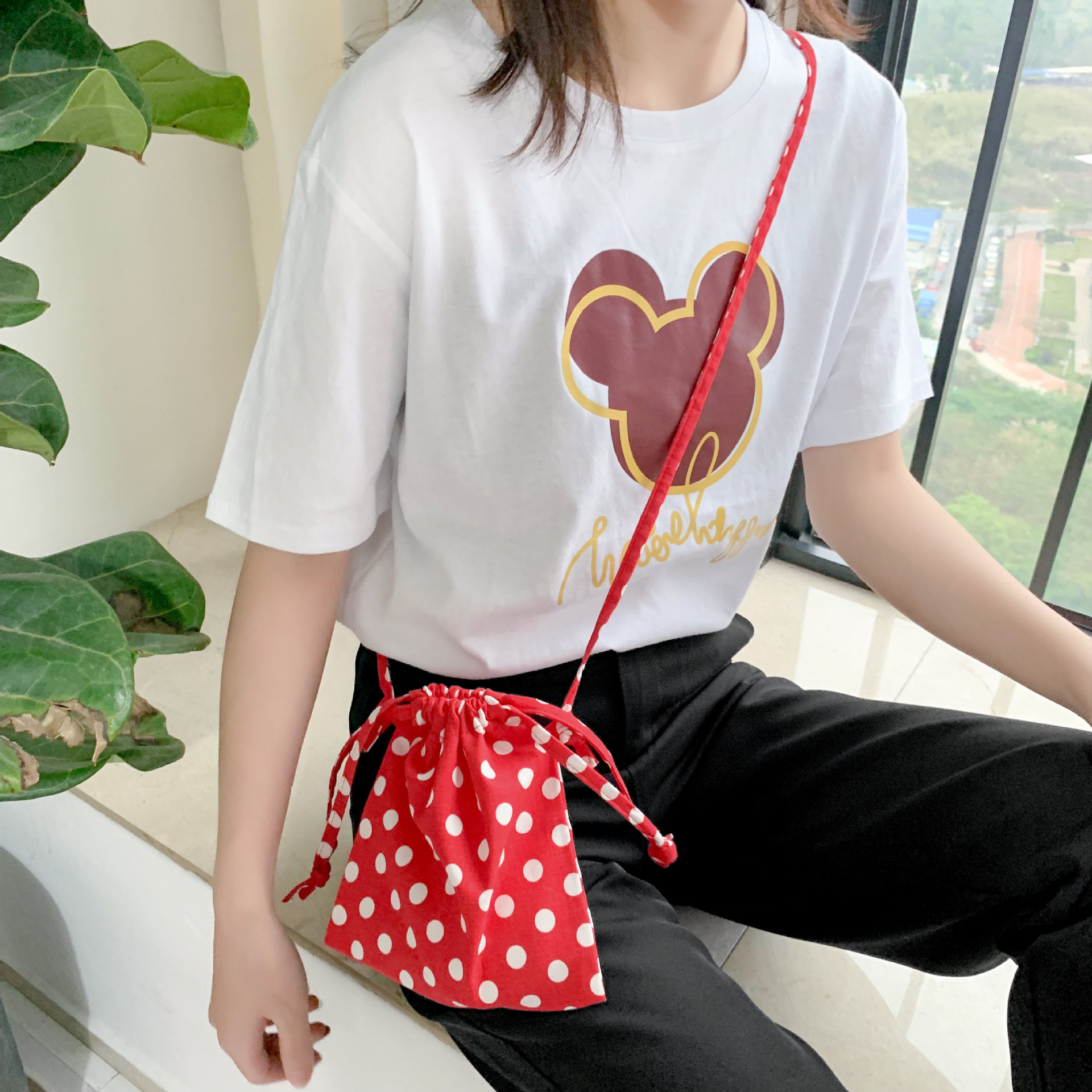 Crossbody bag 2019 new wave point canvas mobile phone bag mini fresh pumping small cloth bag wholesale