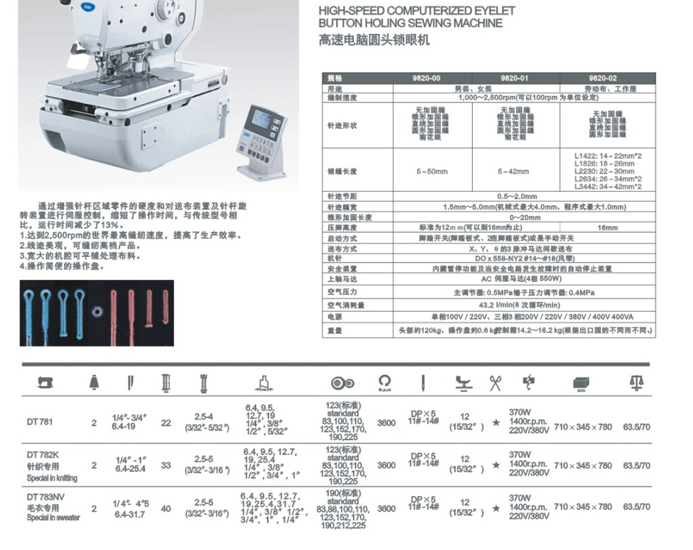 DT 9820A/B Industrial Computer Direct-drive Eyelet Button hole Sewing Machine