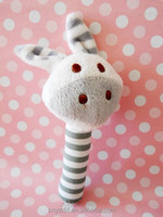 Cute Plush Baby Rattle Grey Donkey Toys/Stuffed Baby Animal Rattle/Soft Stuffed Animal Donkey Rattle for Baby