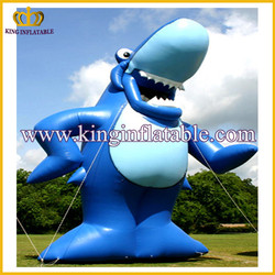blue standing giant shark cartoon animal for advertising in china