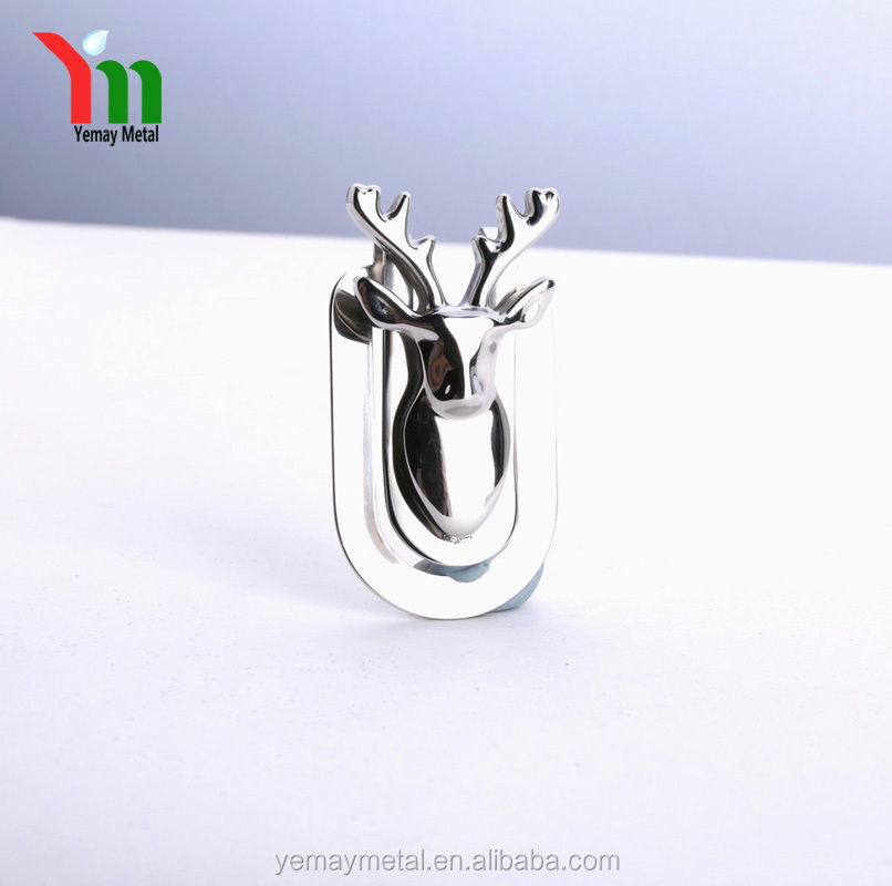 High Quality Metal Money Clip Promotional Deer Shape Stainless Steel Money Clip for Christmas Gift