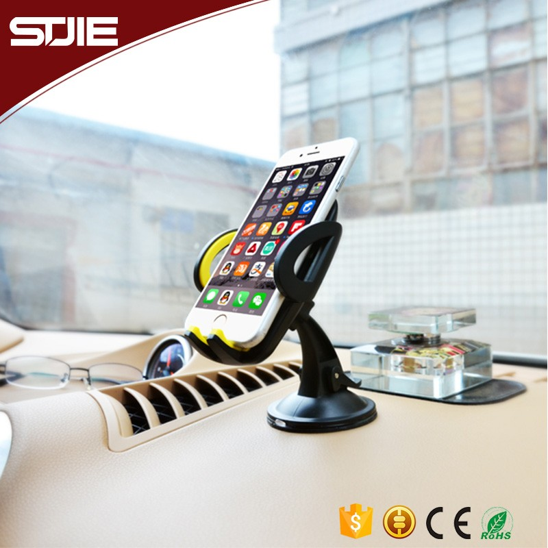 STJIE - Wholesale Universal 360 degree rotating swivel mobile phone mount car holder,phone clip