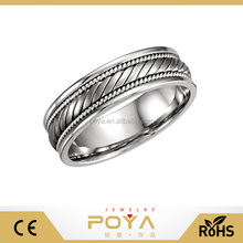 POYA Jewelry 8mm 14k White Gold Tungsten Hand Woven Diagonal Design Wedding Band Ring Comfort Fit