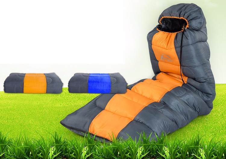 WIND TOUR 1.8kg Outdoor Adult Autumn Winter Hooded Camping Envelope Sleeping Bag