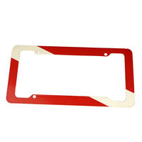 Plastic Red And White Licence Plate Frame For Divers