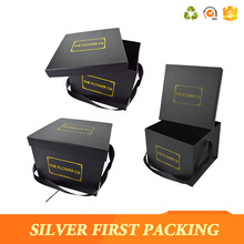 Wholesale black cardboard paper flower gift boxes with handle