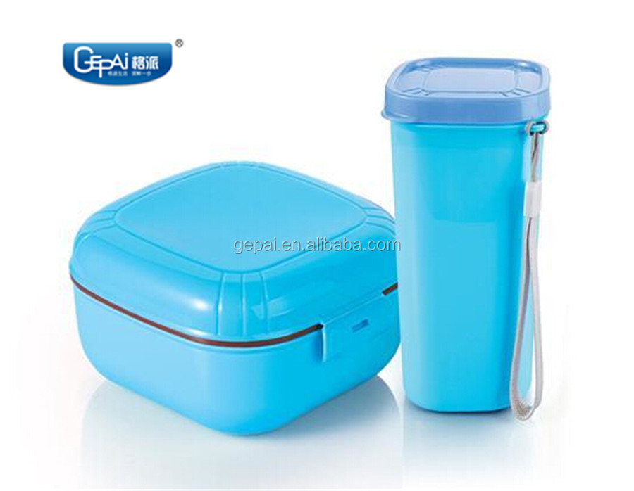 Colorful set japanese style food container plastic with drinking bottle