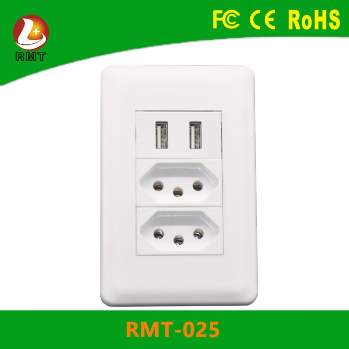 Wholesales Brazil surge protector 2 Multi-function wall Power Strip with 2 USB