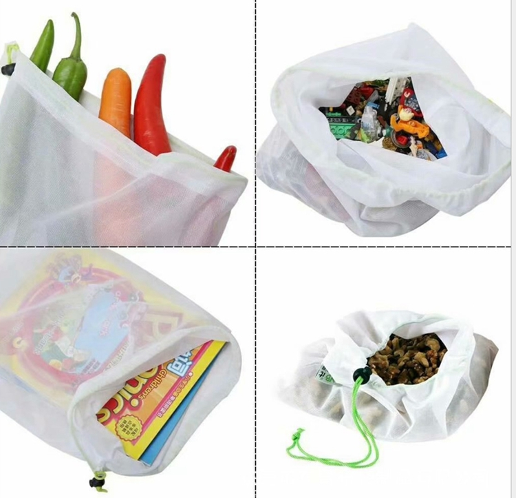 washable polyester fruit and vegetable nets mesh shopping bag
