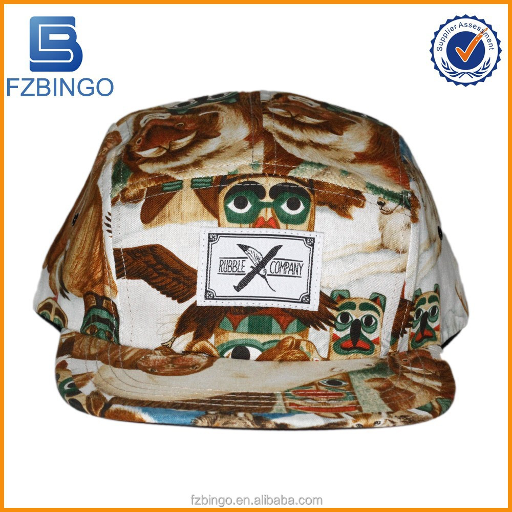 Cheap custom embroidery flat brim printing 5 panel Hats