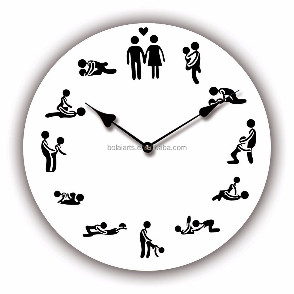 The promotional sex positions design quartz wooden wall clock
