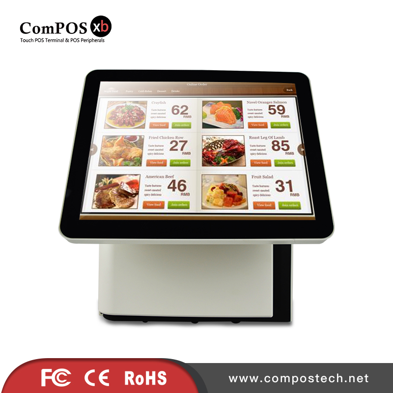 15 Inch Dual Touch Screen LCD Monitor 1024x768 Resolution For PC / POS With Built-in Card Reader