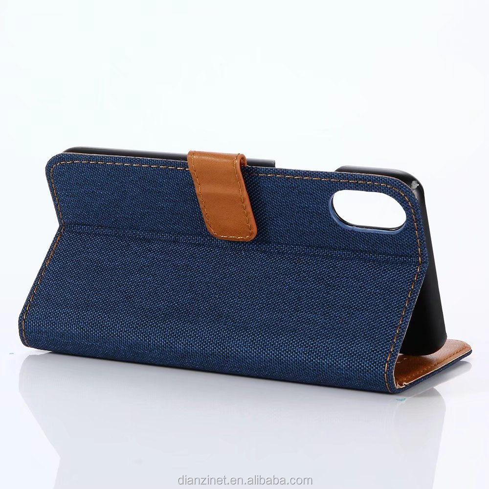 UNIQUE DESIGN Jeans Pattern Wallet Stand Mobile Phone Case for iPhone 8