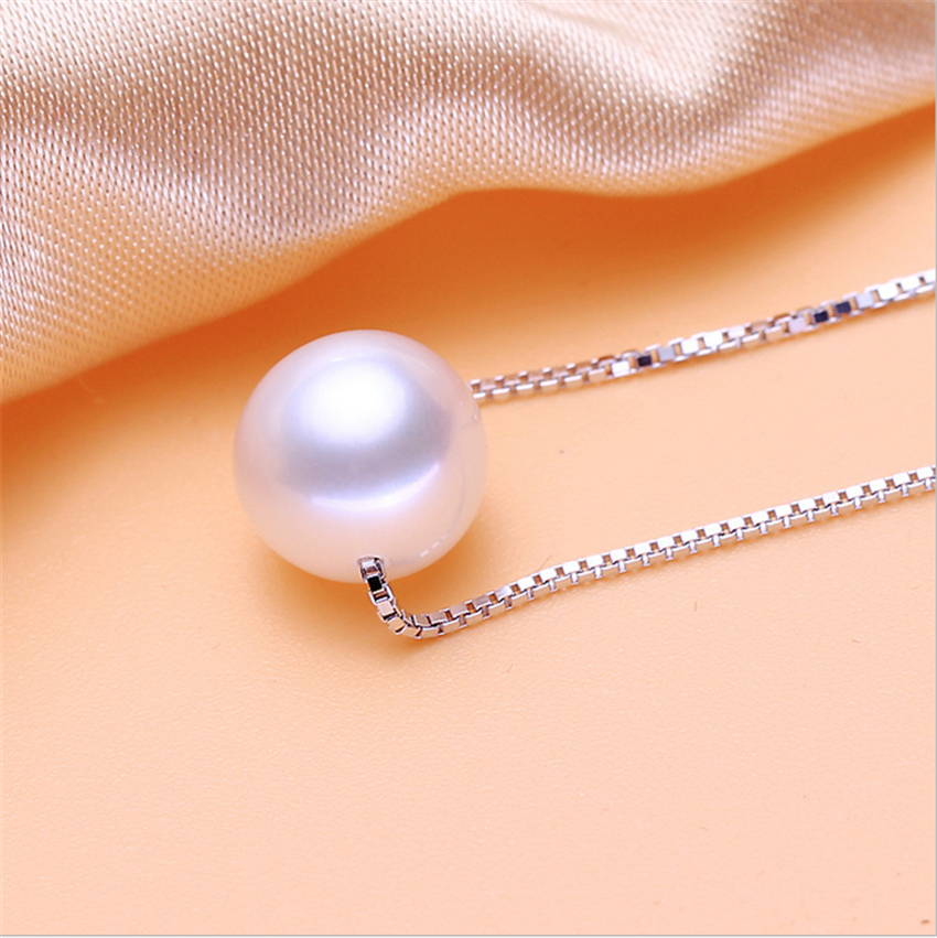 Freshwater pearl pendant natural pearl pendant 8mm AAA lady 925 sterling silver pearl pendant