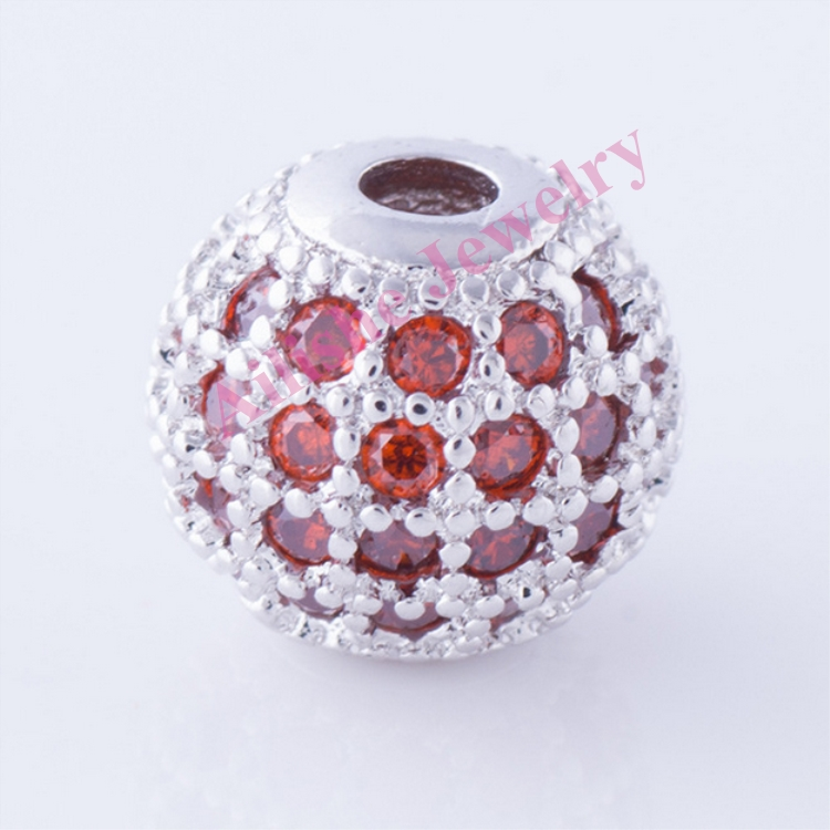 wholesale plated 925 sterling silver diamond pave beads for bracelet pendant