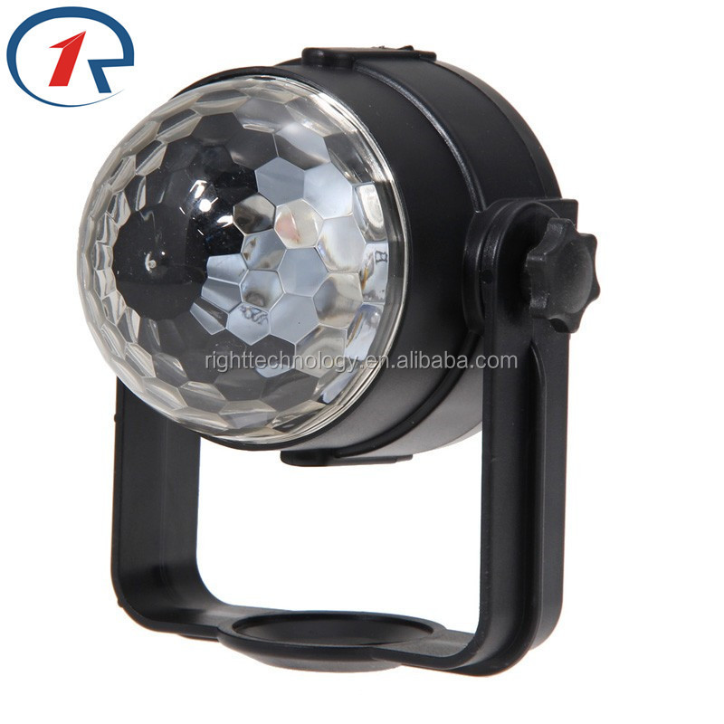2017 Hot selling 6W USB 5V IR Remote/Sound activated cheap RGB LED light Magic Crystal Ball Rotating led Stage Light