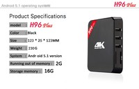 H96 plus tv box android 5.1 Amlogic S905 Quad Core 2gb Ram 16gb Rom android tv box H96 plus