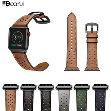 BOORUI Genuine leather watch strap Comfortable Fashional bands wrist strap for apple watch series 1 2 3 4 with 38mm 42mm width