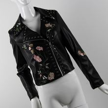 Exquisite practical stylish black embroidered elegant women leather jacket
