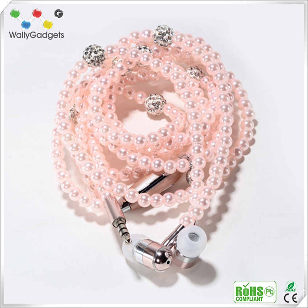 2017 hot in ear necklace beads earphone with mic and pearl anime fancy earphone