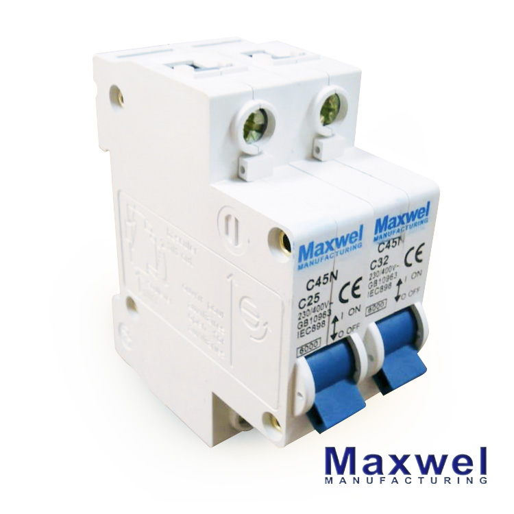High Breaking Capacity 2 poles 400V mini circuit breakers