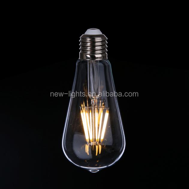 USA market UL listed Edison shape warm white light bulbs 2700K E27/E26/B22 4W/6w ST64 LED filament bulbs