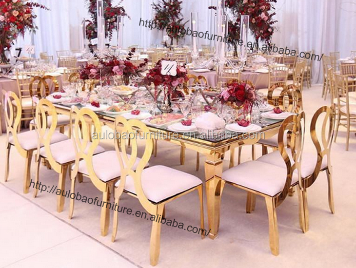 Banquete de casamento mais popular de aço inoxidável mesa de jantar de vidro