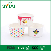 Disposable Frozen Yogurt Paper Bowl / Custom Logo Printed Ice Cream With Lid