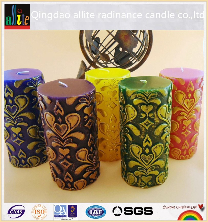 paraffin candle wax of scented pillar candles with wood wick candles