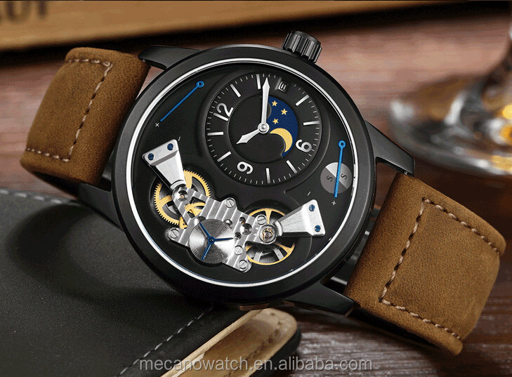 Popular Sport Men Watches With Leather Strap,Stainless Steel Case Mechanical Watches With Sapphire Crystal