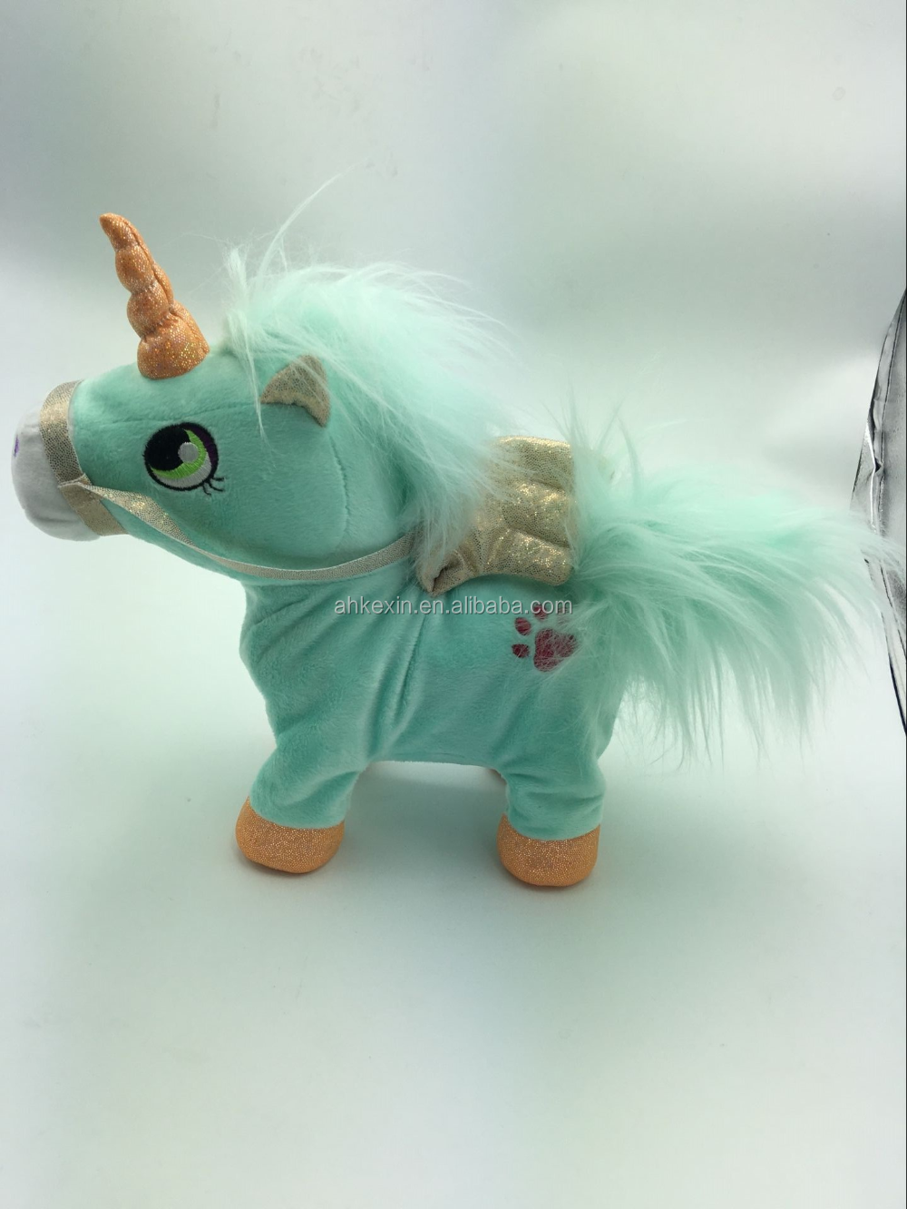 2016 New Design Cute Plush Standing Green Horse Stuffed Animal Toy
