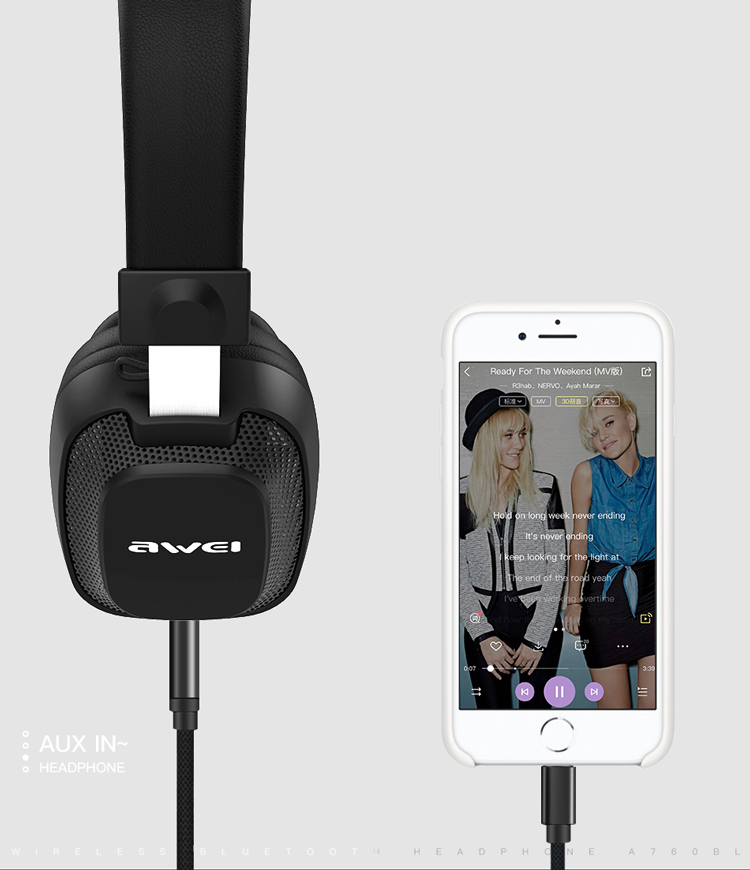 AWEI Best Around On Over The Ear Wireless Bluetooth Headphones Headsets With Mic