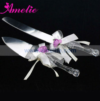 Acrylic Wedding Cake Servers with Ribbon Decoration