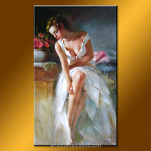 Handmade gril with white dress home design oil painting for living room