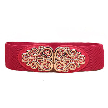 wp1044d Pink Color Flower Waist Cinch Belt Women