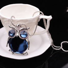 Factory Wholesale High quality Crystal Owl Royal Blue Color Hearts Charm pendant Necklace