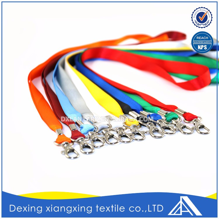 Nylon Slim Bright Colorful Plain Alligator Safety Lanyard With Bulldog Clip Manufacture