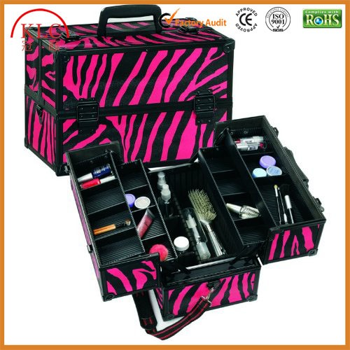 Custom-made Cosmetic Train Case with Adjustable Dividers (Pink Zebra)